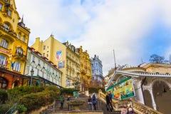 Karlovy Vary, République de Cszech - 1er janvier 2018 : Colonnade de Hot Springs à Karlovy Vary Image stock