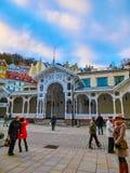 Karlovy Vary, République de Cszech - 1er janvier 2018 : Colonnade de Hot Springs à Karlovy Vary Photographie stock