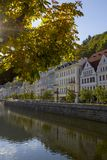 Karlovy Vary River View in autumn sun .Czech Republic Stock Photo