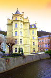 Karlovy Vary riverside mansions  Royalty Free Stock Photography