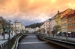 Karlovy Vary at sunset Stock Photos