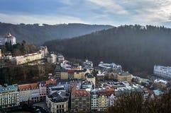 Karlovy Vary top view stock image