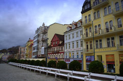 Karlovy Vary twilight view Stock Images