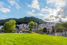Karlovy Vary from U Tri Krizu Viewpoint Stock Images