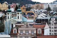 Karlovy Vary. A view of Karlovy Vary (Carlsbad) in the Czech Republic, including the St. Mary Magdalene Church stock image