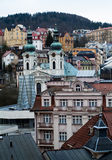 Karlovy Vary. A view of Karlovy Vary (Carlsbad) in the Czech Republic, including the St. Mary Magdalene Church royalty free stock photos