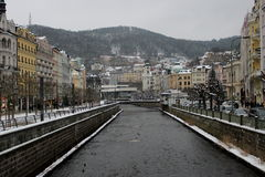 Karlovy Vary in winter. This photo was taken last winter in Karlovy Vary, colonnade Stock Image