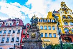 Karlovy Zmienia, Cszech republika - Styczeń 01, 2018: Filar Święta trójca, Karlovy Zmienia - republika czech Fotografia Royalty Free