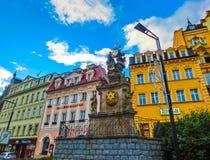 Karlovy Zmienia, Cszech republika - Styczeń 01, 2018: Filar Święta trójca, Karlovy Zmienia - republika czech Obrazy Stock
