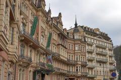 Karlovy Zmienia Hotelowego Karlsbadzkiego plac Obrazy Stock