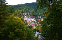 Karlovy Zmienia panoramę (Karlsbad) Obraz Stock