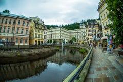 Karlsbadzki miasteczko jest jeden ładni zdrojów miasta w świacie Zdjęcie Royalty Free
