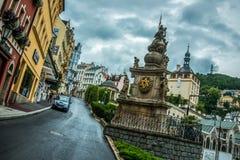 Karlsbadzki miasteczko jest jeden ładni zdrojów miasta w świacie Fotografia Stock