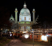 Karlskirche with Christmas Market in Vienna Stock Photo