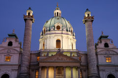 Karlskirche at dusk in Vienna, Austria Stock Photos