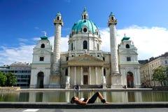 Karlskirche en Viena imagen de archivo