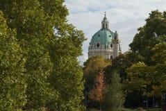 Karlskirche kościelna kopuła w Wiedeń Zdjęcia Stock