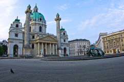 Karlskirche or saint Charles church exterior at sunrise in Vienna Royalty Free Stock Images
