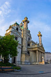 Karlskirche or saint Charles church exterior at sunrise in Vienna Royalty Free Stock Image