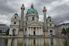 Karlskirche (St. Charles's Church) on a cloudy day in Vienna, Austria. Widely considered the most outstanding baroque church in Vienna, as well stock image