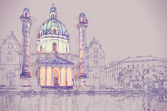 Karlskirche or St. Charles`s Church Royalty Free Stock Photo