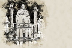 Karlskirche or St. Charles`s Church Royalty Free Stock Image