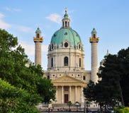 Karlskirche and trees. Karlsplatz, Vienna Stock Images