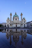 Karlskirche in Vienna Austria at sunset with reflection Stock Image