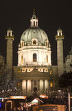 Karlskirche in vienna by christmas-market. In night Royalty Free Stock Photos
