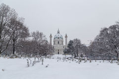 Karlskirche Vienna in the winter Stock Photos