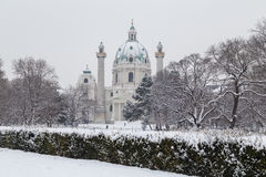 Karlskirche Vienna in the winter Stock Images