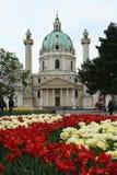 Karlskirche y flores imágenes de archivo libres de regalías