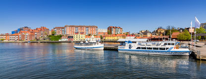 Karlskrona city panorama - view from the ferry harbor Royalty Free Stock Image
