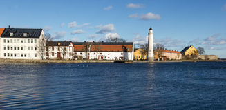 Karlskrona - lighthouse. Panorama to city Karlskrona in Sweden Stock Images