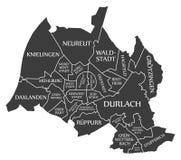 Karlsruhe city map Germany DE labelled black illustration. Karlsruhe city map Germany DE labelled black Stock Photo
