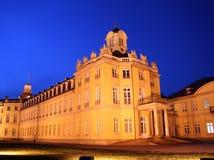 Karlsruhe Palace at night. The 18th century Karlsruhe Palace (German: Karlsruher Schloss) at night Royalty Free Stock Photo