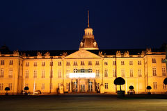 Karlsruhe Palace at night. The 18th century Karlsruhe Palace (German: Karlsruher Schloss) at night Stock Photo