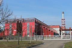Karlsruhe Tyskland, mars 25th 2018: Kommunal pyrolysväxt för fast avfalls i staden av Karlstuhe Thermoselect teknologi Fotografering för Bildbyråer