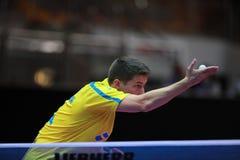 KARLSSON Kristian on serve. KARLSSON Kristian from Sweden on serve. 2017 European Championships - 1/4 Final. Luxembourg Stock Photo
