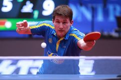 KARLSSON Kristian from Sweden backhand. Montreux, Switzerland, 3 February 2018. KARLSSON Kristian from Sweden backhand . First Round at the ITTF European Top 16 Stock Photos