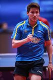 KARLSSON Kristian from Sweden celebrate. Montreux, Switzerland, 3 February 2018. KARLSSON Kristian from Sweden celebrate . First Round at the ITTF European Top Royalty Free Stock Photo