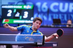 KARLSSON Kristian from Sweden forehand. Montreux, Switzerland, 3 February 2018. KARLSSON Kristian from Sweden forehand . First Round at the ITTF European Top 16 Stock Images