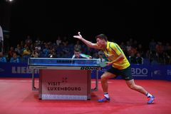 KARLSSON Kristian on serve. KARLSSON Kristian from Sweden onserve. 2017 European Championships - 1/4 Final. Luxembourg Stock Images