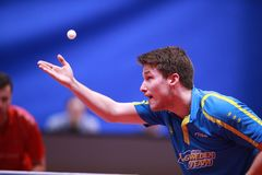 KARLSSON Kristian from Sweden on serve. Montreux, Switzerland, 3 February 2018. KARLSSON Kristian from Sweden on serve . First Round at the ITTF European Top 16 Royalty Free Stock Photography