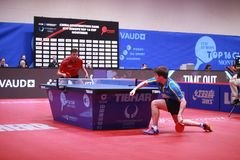 KARLSSON Kristian from Sweden top spin. Montreux, Switzerland, 3 February 2018. KARLSSON Kristian from Sweden top spin . First Round at the ITTF European Top 16 Stock Photos