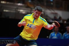 KARLSSON Kristian top spin. KARLSSON Kristian from Sweden top spin. 2017 European Championships - 1/4 Final. Luxembourg Royalty Free Stock Images