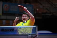 KARLSSON Kristian top spin. KARLSSON Kristian from Sweden top spin. 2017 European Championships - 1/4 Final. Luxembourg Stock Photos