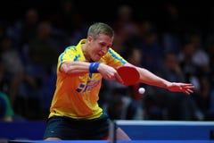 KARLSSON Mattias backhand. KARLSSON Mattias from Sweden backhand. 2017 European Championships - 1/4 Final. Luxembourg Stock Photography