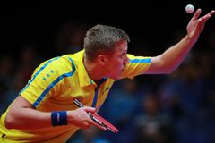 KARLSSON Mattias on serve. KARLSSON Mattias from Sweden onserve. 2017 European Championships - 1/4 Final. Luxembourg Stock Images