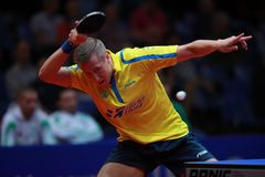 KARLSSON Mattias top spin. KARLSSON Mattias from Sweden top spin. 2017 European Championships - 1/4 Final. Luxembourg Stock Photo